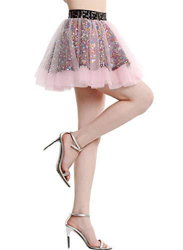 BeryLove Damen Pailletten Rock Gold Petticoat Tüllrock Mini Tanzrock Mädchen Festliche Glitzernd BLP9001 Pink M