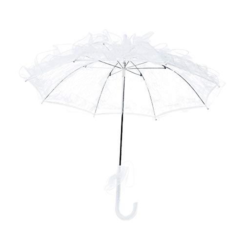 siwetg Womens Westlichen Stil Aushöhlen Blütenspitze Regenschirm Hochzeit Braut Manuelle Eröffnung Fleur Sonnenschirm Rüschen Trim Romantische Foto Requisiten Weiß