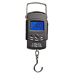 Pêche Portable échelle échelle Bagages, Ecran LCD Balance, Balance de pêche en Plein air avec Crochet de Ruban à mesurer…