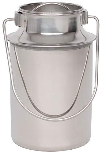 Beeketal \'BMK-2\' Edelstahl Milchkanne Transportkanne mit 1,1 Liter Volumen, Milchkanister mit Deckel, Drahtbügel Transportgriff und Schütthilfe Rand, Abmessung (Ø/H): ca. 100 x 180 mm