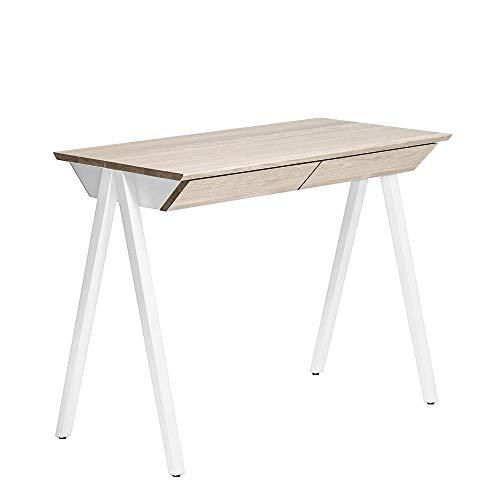 BORCAS Vogel Escritorio   100 x 77 x 50 cm   Mesa de Oficina Moderna de Roble Blanqueado   con 2 cajones   Fabricado en UE   para Estudio, Oficina   Color Blanco