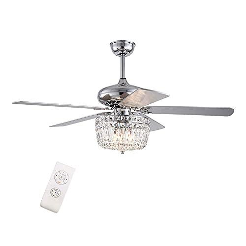 Beeki Ventilador de techo con luz y ventilador de techo de cristal de 52 pulgadas de 52 pulgadas con luz, luz de araña de cristal moderna con control remoto Velocidad ajustable 5 cuchillas reversibles