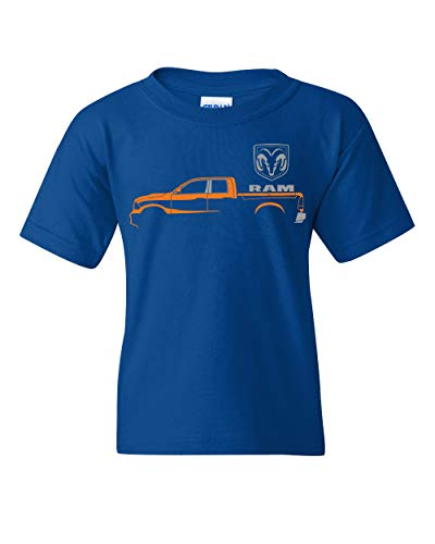 Dodge RAM Truck Youth T-Shirt Heavy Duty V8 Pickup Truck Kids Tee Royal Blue M