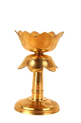 R.s.R.s.inc Lotus Shaped BrassLamp/Diya/Vilakku/Diva with Stand for Diwali,All Positive Blessing Functions 8cmx8cm12cm