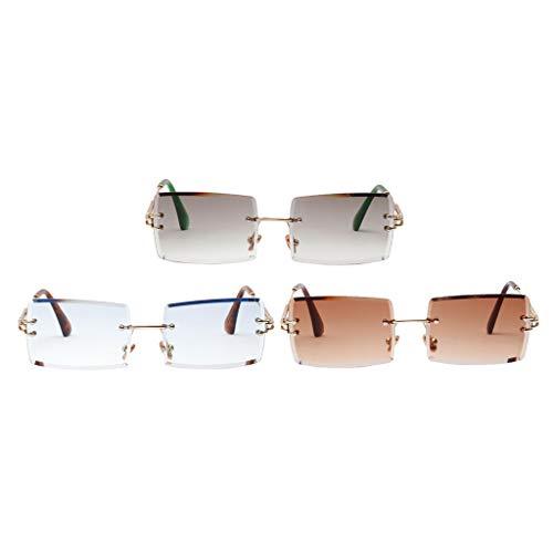 Bonarty 3X Vintage Lady Gafas de Sol Sin Montura Fiesta Teñido Lente Marco de Metal Gafas UV 400