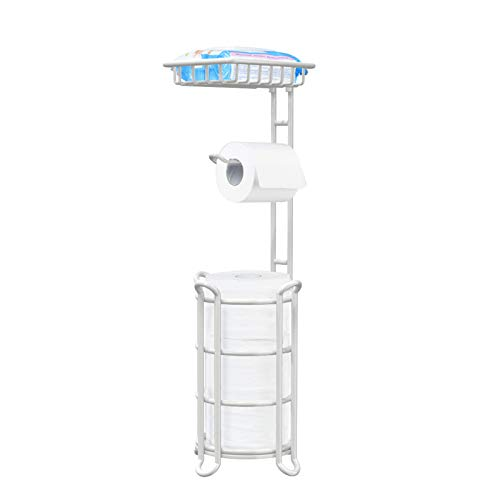 [Upgrade] Toilet Paper Holder Stand Bathroom Tissue Holders Free Standing with Top Shelf Storage Mega Rolls  Phone Wipe-White