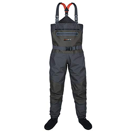 HISEA Fly Fishing Chest Waders Breathable Stocking Foot Wader Without Boots for Men Women