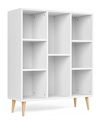 LXESWM Reseñas de estantes de Libros Muebles Blanco Estante Escandinavo Biblioteca de Almacenamiento