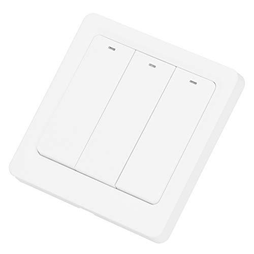 Interruptor WiFi inteligente, interruptor de botón pulsador Control inteligente por voz Interruptor WiFi, tipo de control de voz de 3 vías Control remoto de hotel para luces LED domésticas