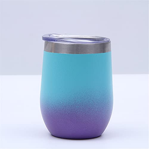 RZHIXR Taza De Acero Inoxidable De Color Degradado, Taza Aislada De Vientre Grande con Forma De Cáscara De Huevo Doble, Taza De Café A Prueba De Fugas con Tapa