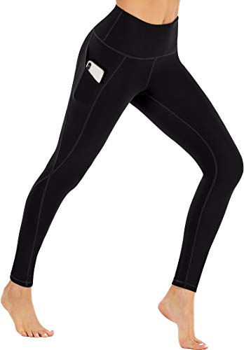 Ewedoos Fleece Lined Leggings with Pockets for Women- Winter Leggings for Women High Waisted Thermal Workout Leggings (New Black, Small)