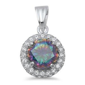 Damen Anhänger Halskette Sterling Silber Regenbogen Topas Zirkonia (Kommt mit einem 45 Cm Kette)