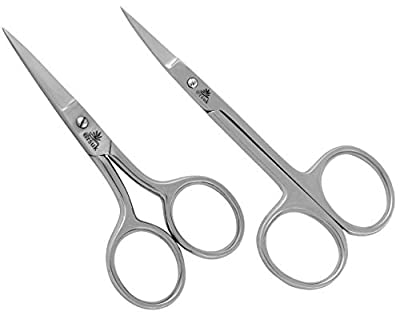 ARSUK Scissors for Moustache Beard Nose Ear Hair Eyebrow - Men's Hair Grooming Trimming Shaping Cutting - Made from Professional Stainless Steel (2pcs Nose & Ear Scissor)