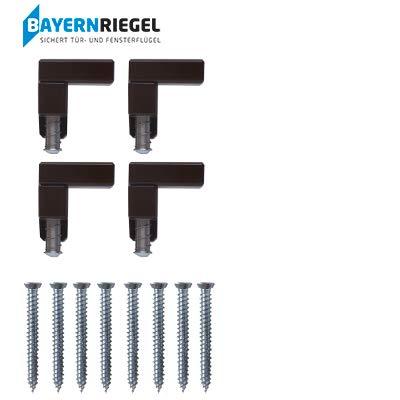 BAYERNRIEGEL - Die kleine Universal Tür - und Fenster Sicherung für großen Einbruchschutz gegen Aufhebeln - Deutsches Qualitätsprodukt (4, Braun)