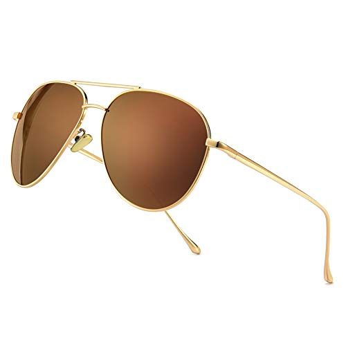 SUNGAIT Women's Lightweight Oversized Aviator Sunglasses - Mirrored Polarized Lens (Light-Gold...