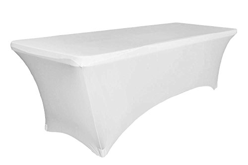 6ft Tablecloth Rectangular Spandex Linen - White Table Cloth Fitted Cover for 6 Foot Folding Table, Wedding Linens Banquet Cloths Rectangle Covers