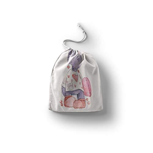 Bonamaison Bedruckte Baumwoll Taschen mit Kordelzug, Einkaufstasche, Beutel, Stoffsack, Stofftasche, Gemüsesack, Wiederverwendbare, Umweltfreundlich, Mehrzweck, Faltbar, Größe: 30x40 Cm