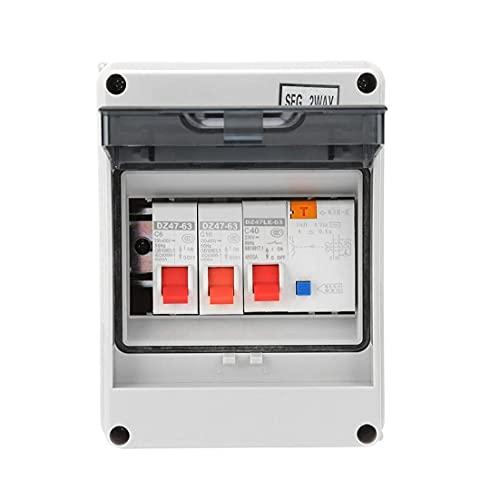 Unidad de consumo Panel de interruptores de circuito de 2 vías Mini PROTECCIÓN DE FUCHAGE PLACA FUSEA 40A 30A RCD 2 MCB 6A + 16A, probador de interruptores