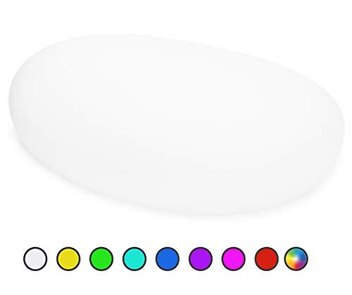 Bonetti Solarlampen für Außen, wasserdichte Solarleuchte im Stein-Design & Milchglas-Optik, 8+1 Farben, automatische Einschaltung, kabellose Außenleuchte mit RGB-Funktion, IP67 (40 cm - Stein)