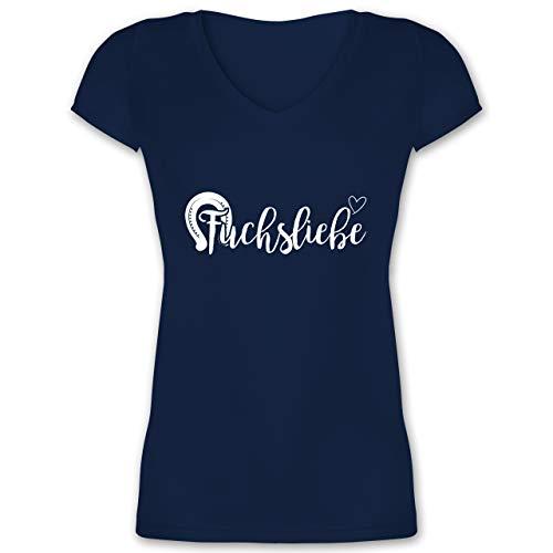 Reitsport - Fuchsliebe Reiterin - S - Dunkelblau - t Shirt Fuchs Damen - XO1525 - Damen T-Shirt mit V-Ausschnitt