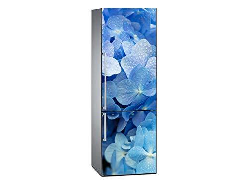 Oedim Vinilo para Frigorífico Flores Azules con el Rocío 185x60cm   Adhesivo Resistente y Económico   Pegatina Adhesiva Decorativa de Diseño Elegante