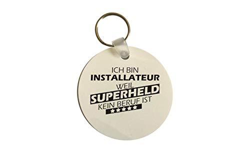 Portachiavi Rotondo, Supereroe per Migliori Occupazione Del Mondo, Kollege, Lavoro - Installatore Supereroe, 60 mm