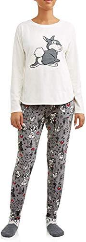 Disney Klopfer, Pyjama-Set für Damen, Plüsch, Fleece, 3-teilig - Grau - X-Large (16/18 US)