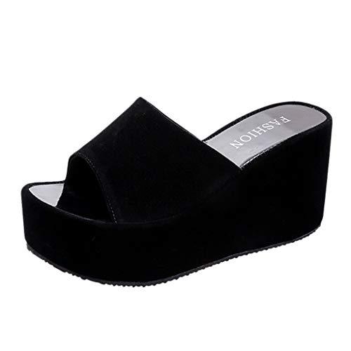 Cuidado Chaussures à Semelles CompenséEs Sandales Femmes Compensé Mules Femme Cuir Confort Bout Ouvert Plage Décontractées Noir Blanc