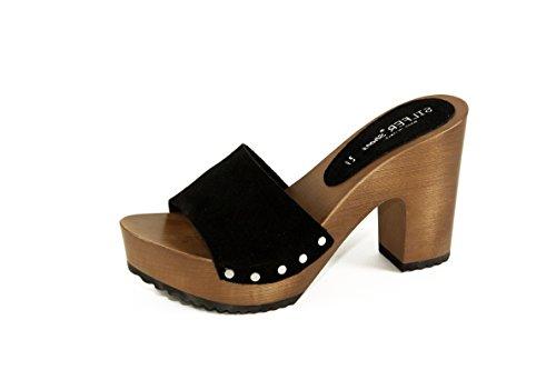 Silfer Shoes - Zoccolo in Vero Legno e Pelle di camoscio, Colore Nero (39)