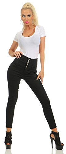 Fashion4Young 11209 Damen Hose Treggings Röhre Damenhose Stretch Skinny Chino High-Waist (schwarz, S-36)