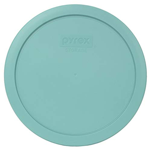 Pyrex 7402-PC Turquoise Round Plastic Food Storage Replacement Lids - 2 Pack