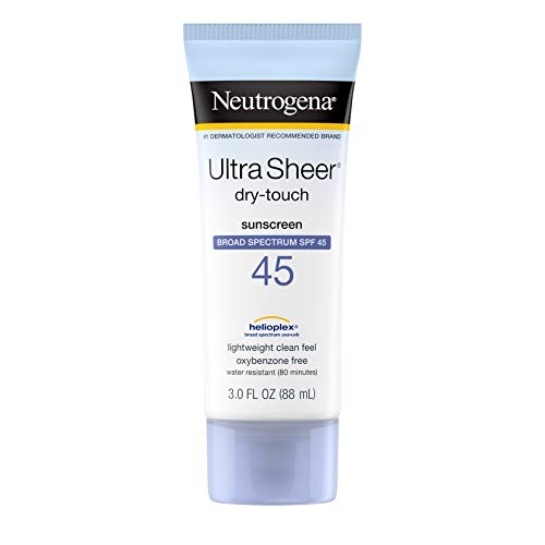 Neutrogena Ultra Sheer Dry-Touch Sunscreen Lotion, Broad Spectrum SPF 45 UVA/UVB Protection, Lightweight Water Resistant, Non-Comedogenic & Non-Greasy, Travel Size, 3 fl. oz (Pack of 3)