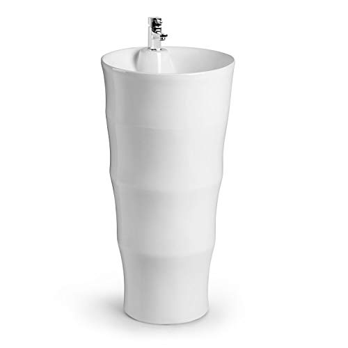 Elektronik Star Besoa Grenada Stand-Waschbecken,Keramik-Waschbecken,Wandanbringung,modernes Design,einfache Reinigung durch Glatte Oberflächen,weiß