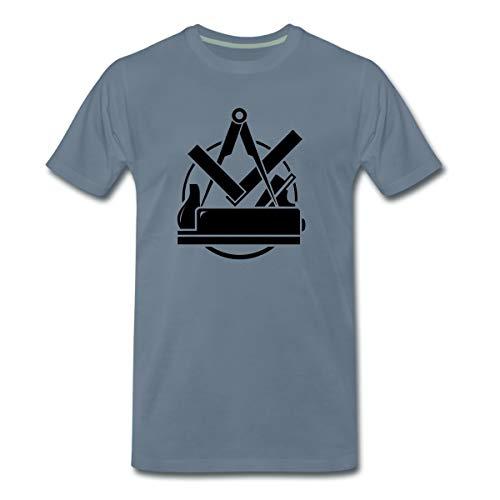 Tischler Emblem, Schreiner Logo Männer Premium T-Shirt, L, Blaugrau