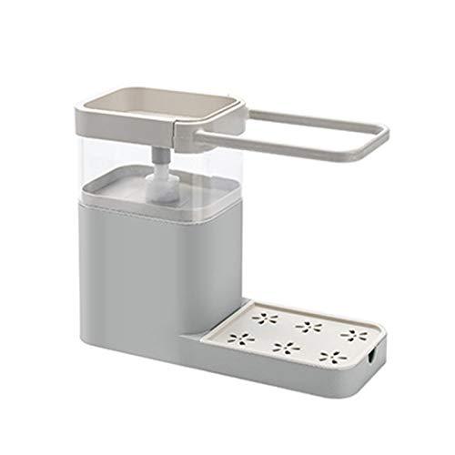 Zuoye Dispensador de jabón 4 en 1 para limpieza de prensa de esponja toallero y escurridor, organizador de cocina para bombear jabón y dispensador de almacenamiento para cocina
