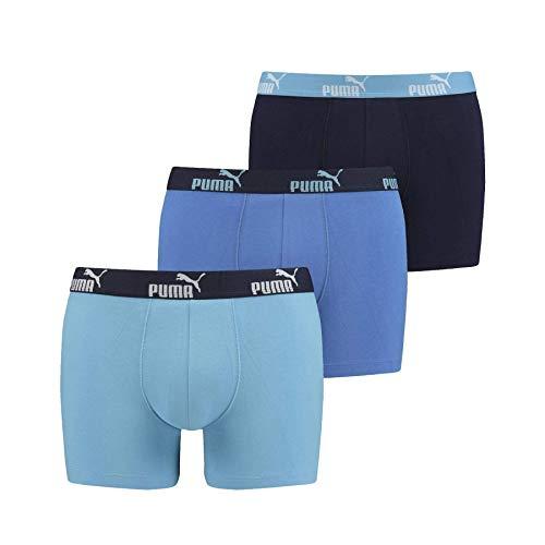 PUMA Baumwolle Stretch 3-Pack Promo Solide Boxer, Blaue Combo XL Blaue Combo