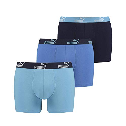 PUMA Baumwolle Stretch 3-Pack Promo Solide Boxer, Blaue Combo XL Blaue Combo