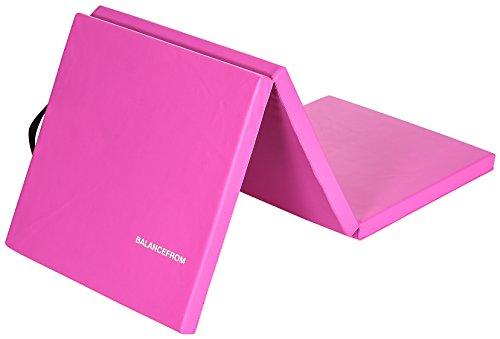 "BalanceFrom 2"" Thick Tri-Fold Folding Exercise Mat with Carrying Handles for MMA, Gymnastics and Home Gym Protective Flooring (Pink)"