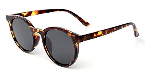 Kelens Gafas de sol redondas, estilo vintage, polarizadas, retro, redondas, con borde, unisex, protección UV400, Marco: Escudo de leopardo, lentes: gris,