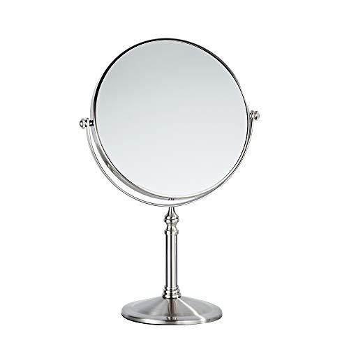 Fixsen - Specchio con ingrandimento su due lati, 20,3 cm, in nichel spazzolato, ingrandimento 1X e 10x, rotazione a 360 gradi portatile
