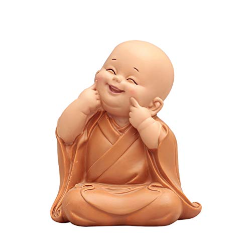 Kozart Little Cute Buddha Statue Monk Figurine Hand-Carved Creative Baby Crafts Dolls Ornaments Gift Classic Adorable Delicate Resin Arts and Crafts Tea Accessories Car Home Decor 4'' High