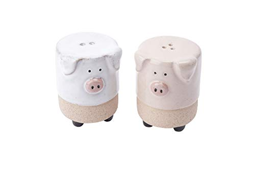 Stoneware Set of 2 White and Pink Pig Standing Salt & Pepper Pots | from CGB Giftware's Loft Range | GB05228
