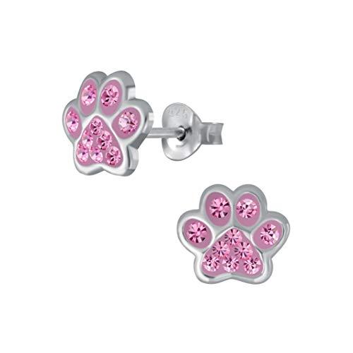 Laimons Pendientes para niñas y niños, joyas para niños, diseño de huellas de perro, con purpurina en color rosa, 7 mm, pequeños de plata de ley 925