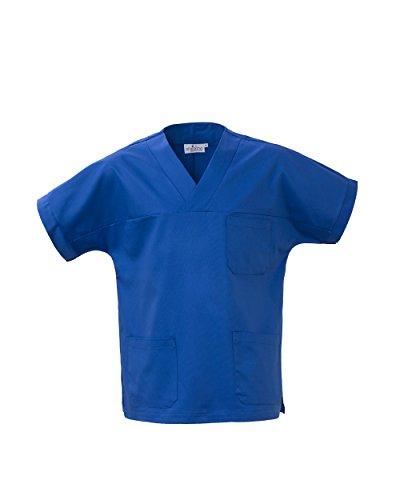 Angiolina Camice Casacca Uomo Donna A V per Medico Infermiere Blu Royal MS1401 (L)