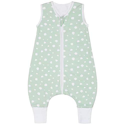 Premium Baby Sommer Schlafsack mit Füßen/Beinen, Großzügige Bewegungsfreiheit, Flauschig Weich, 100% Bio-Baumwolle, für 18-24°C Grad - 1.0 TOG, Punkte Mint & Peach von emma & noah (Mint, 70 cm)