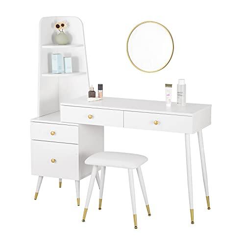 WOLTU Schminktisch mit Hocker Spiegel Frisiertisch Nachttisch mit 4 Schubladen Große Tischplatte 100x38cm, Modern Kosmetiktisch für Schlafzimmer, Weiß MB6081ws