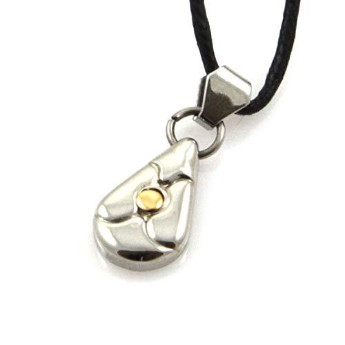 Collar de la Gota en el Acero y en el Punto 18 k de Oro Correa de Negro H22 L10 - cll0617