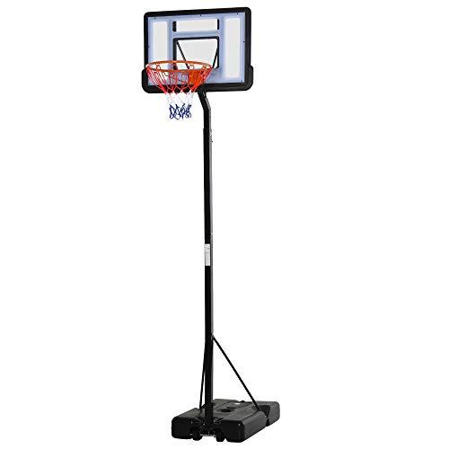 HOMCOM Canasta de Baloncesto con Soporte Móvil con Ruedas Aro de Basket Ajustable en Altura con Base Rellenable para Niños y Adultos 86x153x302-352 cm Negro