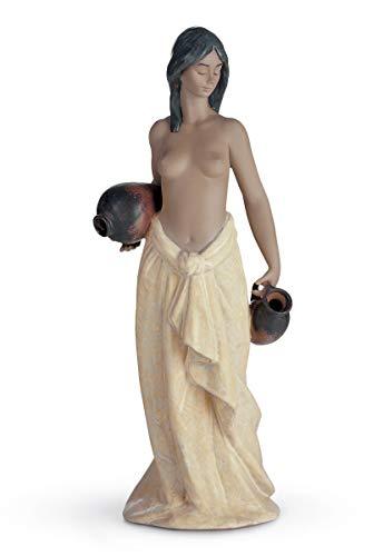 LLADRÓ Figura Aguadora con Dos Cántaros. Figura Mujer Desnuda de Porcelana.