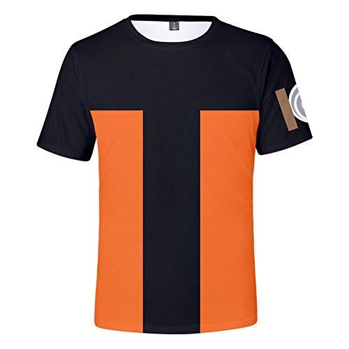 TSHIMEN t-Shirt männer cool Naruto Japanische Comicfiguren 3D digitaler Farbdruck Männer und Frauen mit kurzen Ärmeln Orange XL